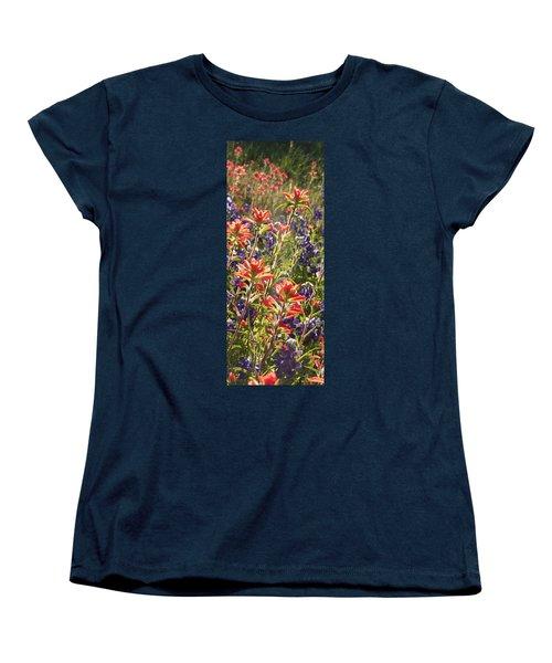 Women's T-Shirt (Standard Cut) featuring the painting Sunlit Wild Flowers by Karen Kennedy Chatham