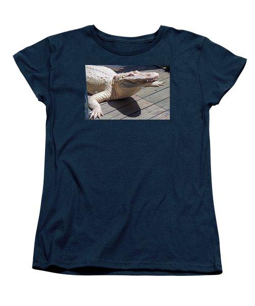 Sunning Albino Alligator Women's T-Shirt (Standard Cut) by Kenneth Albin