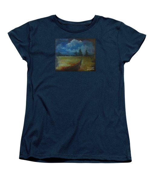 Women's T-Shirt (Standard Cut) featuring the painting Sunny Field by Christina Verdgeline