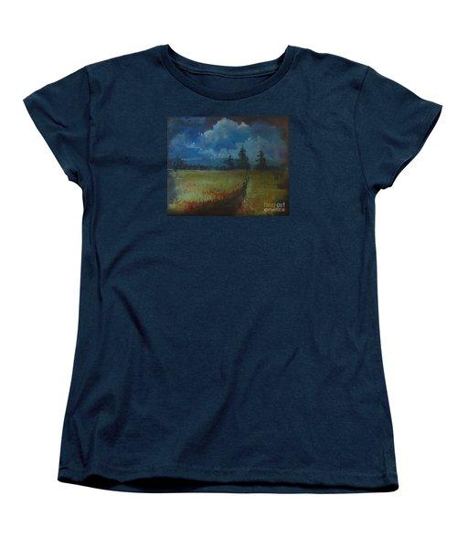 Sunny Field Women's T-Shirt (Standard Cut) by Christina Verdgeline