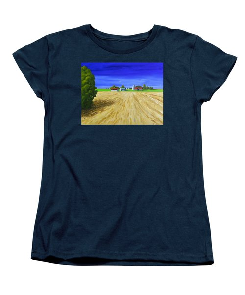 Women's T-Shirt (Standard Cut) featuring the painting Sunny Fields by Jo Appleby