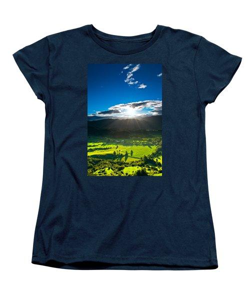 Sunrays Flood Farmland During Sunset Women's T-Shirt (Standard Cut) by Ulrich Schade