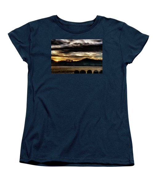 Women's T-Shirt (Standard Cut) featuring the photograph Sunrise And Hay Bales by Thomas R Fletcher