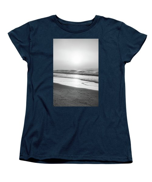 Women's T-Shirt (Standard Cut) featuring the photograph Sunrise At Beach Black And White  by John McGraw