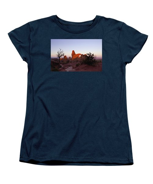 Sunrise At Tower Arch Women's T-Shirt (Standard Cut) by Ellen Heaverlo
