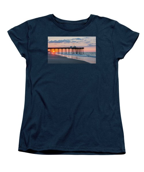 Sunrise Ocean City Fishing Pier Women's T-Shirt (Standard Cut) by Photographic Arts And Design Studio