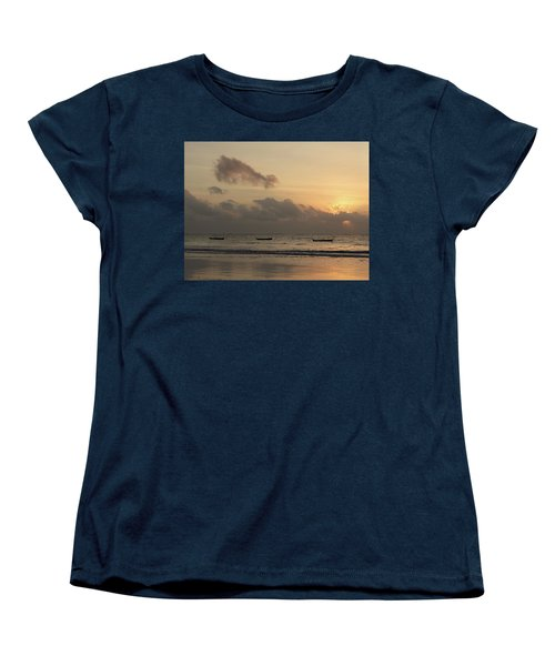 Sunrise On The Beach With Wooden Dhows Women's T-Shirt (Standard Fit)