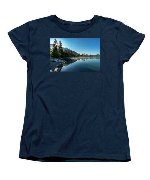 Women's T-Shirt (Standard Cut) featuring the photograph Sunrise Over The Mountain And Through The Tree by Darcy Michaelchuk