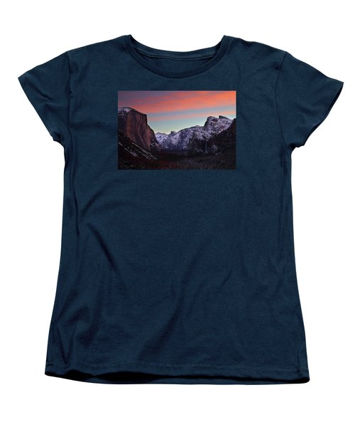 Women's T-Shirt (Standard Cut) featuring the photograph Sunrise Over Yosemite Valley In Winter by Jetson Nguyen