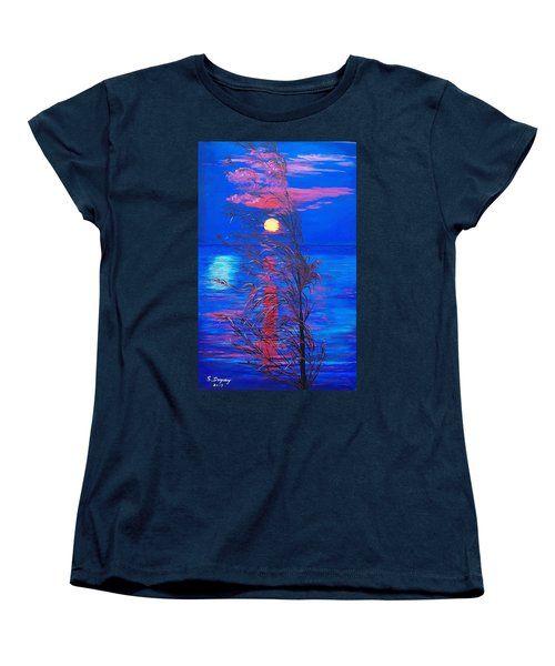 Women's T-Shirt (Standard Cut) featuring the painting Sunrise Silhouette by Sharon Duguay