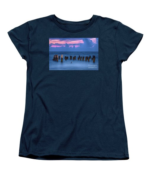 Women's T-Shirt (Standard Cut) featuring the photograph Sunrise Wharf On Ocracoke Island Outer Banks by Dan Carmichael