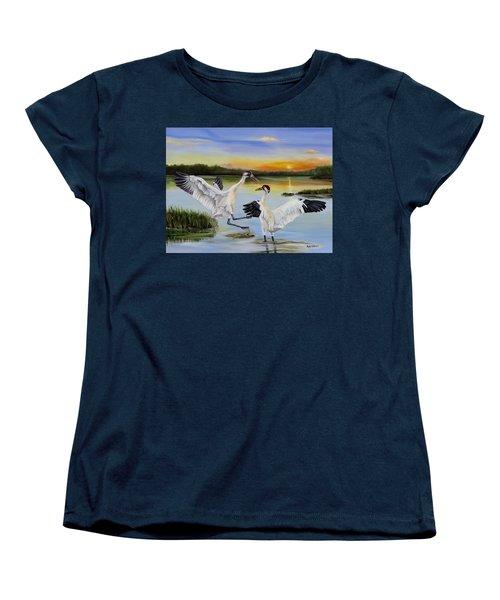 Sunrise Whooping Cranes Women's T-Shirt (Standard Cut) by Phyllis Beiser
