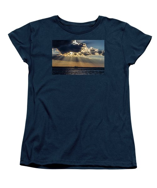 Sunset And A Three Masted Schooner Women's T-Shirt (Standard Cut) by Menachem Ganon