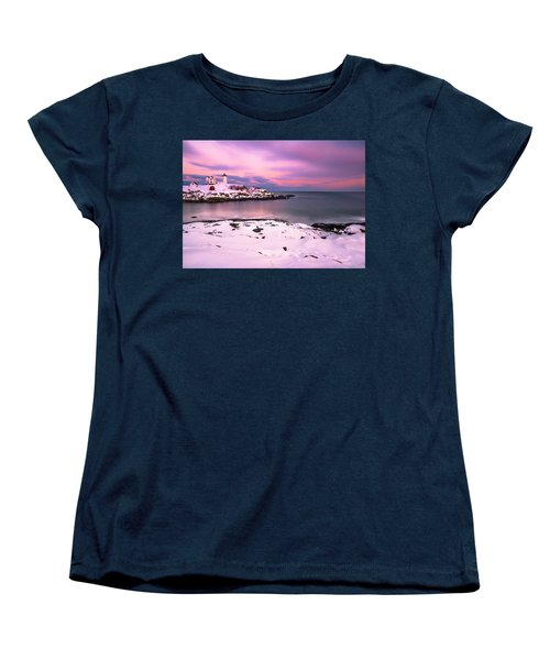 Sunset At Nubble Lighthouse In Maine In Winter Snow Women's T-Shirt (Standard Cut) by Ranjay Mitra