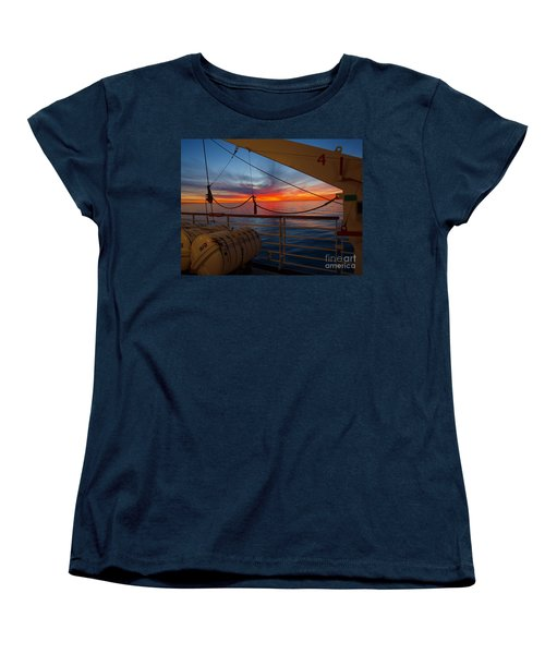 Women's T-Shirt (Standard Cut) featuring the photograph Sunset At Sea by Trena Mara