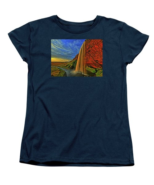 Women's T-Shirt (Standard Cut) featuring the photograph Sunset At The Falls by Scott Mahon
