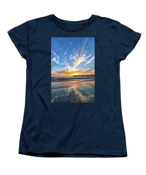 Women's T-Shirt (Standard Cut) featuring the photograph Sunset At The Pismo Beach Pier by Vivian Krug Cotton