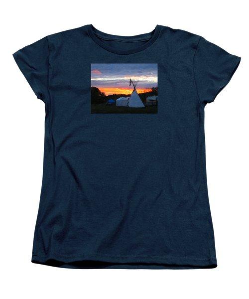 Women's T-Shirt (Standard Cut) featuring the photograph Sunset At The Powwow by Spyder Webb