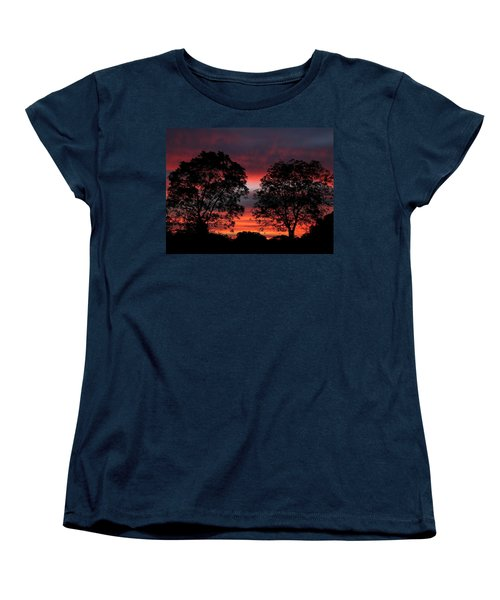 Sunset Behind Two Trees Women's T-Shirt (Standard Cut) by Sheila Brown