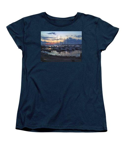Sunset Dock Women's T-Shirt (Standard Cut) by Felipe Adan Lerma