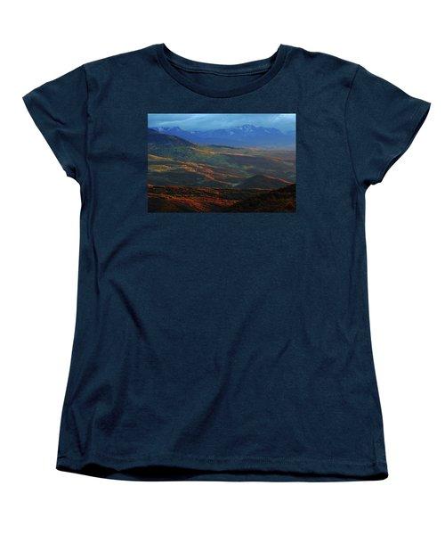 Sunset During Autumn Below The San Juan Mountains In Colorado Women's T-Shirt (Standard Cut) by Jetson Nguyen