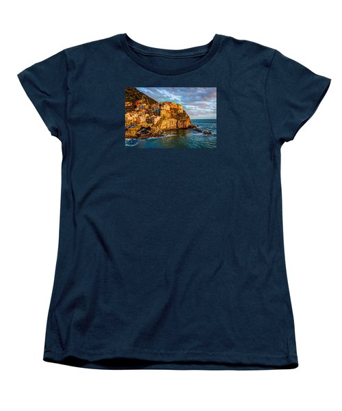 Women's T-Shirt (Standard Cut) featuring the photograph Sunset In Manarola by Wade Brooks