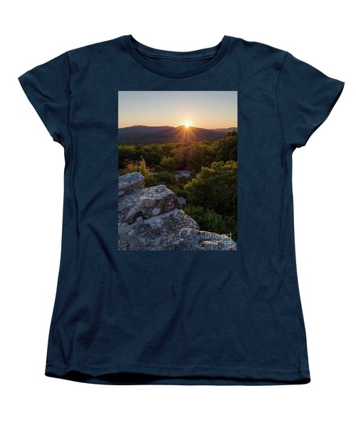 Women's T-Shirt (Standard Cut) featuring the photograph Sunset, Mt. Battie, Camden, Maine 33788-33791 by John Bald