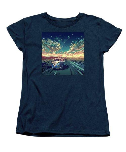 Sunset Oh The Road Women's T-Shirt (Standard Cut) by Bekim Art