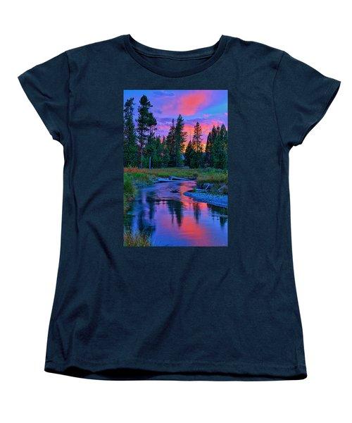 Sunset On Lucky Dog Creek Women's T-Shirt (Standard Cut) by Greg Norrell