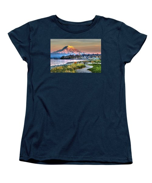 Sunset On Mt Rainier And Point Ruston Women's T-Shirt (Standard Cut) by Rob Green