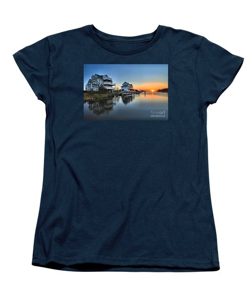 Sunset On The Obx Sound Women's T-Shirt (Standard Cut) by Adam Jewell