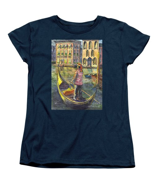Women's T-Shirt (Standard Cut) featuring the painting Sunset On Venice - The Gondolier by Carol Wisniewski