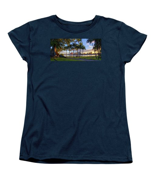 Sunset Over Downtown West Palm Beach From Palm Beach Island Women's T-Shirt (Standard Cut) by Justin Kelefas