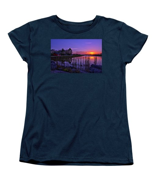 Sunset Over Hungryland Wildlife Management Area Women's T-Shirt (Standard Cut) by Justin Kelefas