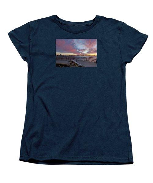Sunset Over Manasquan Inlet 3 Women's T-Shirt (Standard Cut) by Melinda Saminski