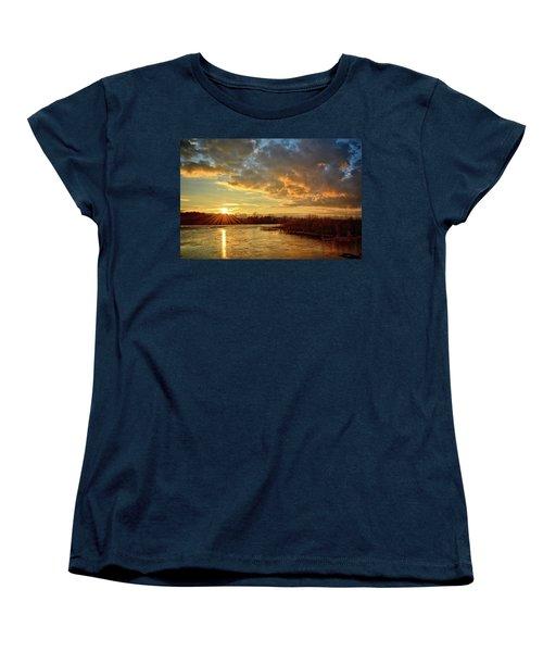 Sunset Over Marsh Women's T-Shirt (Standard Cut) by Bonfire Photography