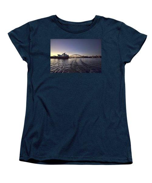Sunset Over Sydney Harbor Bridge And Sydney Opera House Women's T-Shirt (Standard Cut) by Douglas Barnard