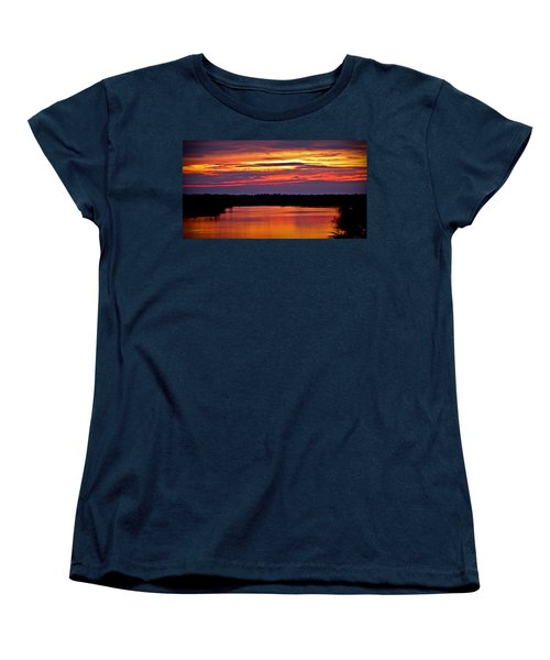 Sunset Over The Tomoka Women's T-Shirt (Standard Cut) by DigiArt Diaries by Vicky B Fuller
