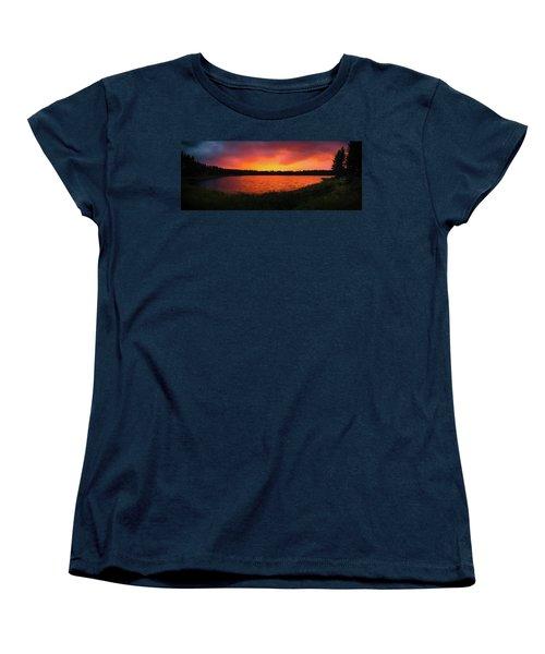 Sunset Panorama Women's T-Shirt (Standard Cut) by Teemu Tretjakov