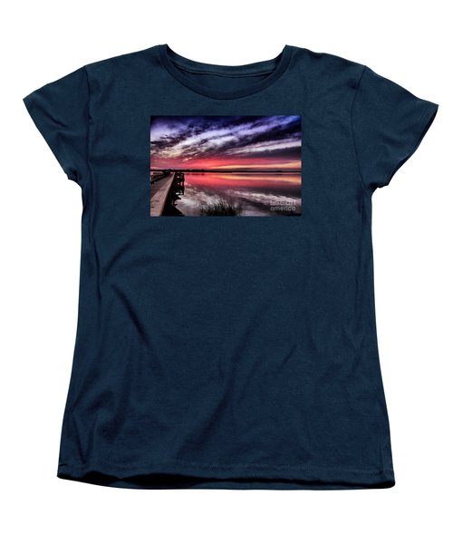 Women's T-Shirt (Standard Cut) featuring the photograph Sunset Reflections by Phil Mancuso