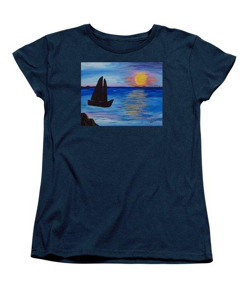 Sunset Sail Dark Women's T-Shirt (Standard Cut) by Barbara McDevitt