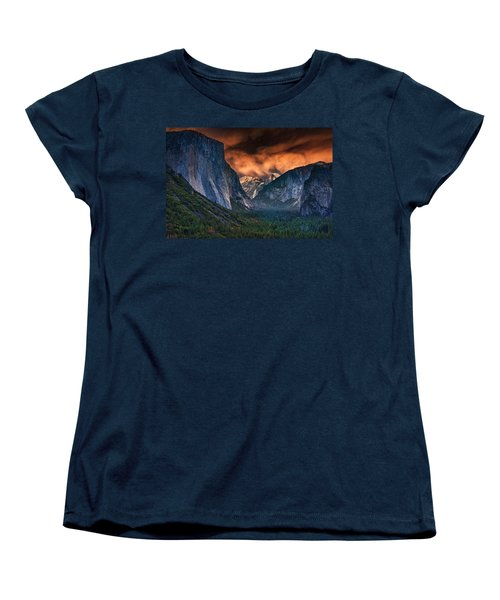 Sunset Skies Over Yosemite Valley Women's T-Shirt (Standard Cut) by Rick Berk