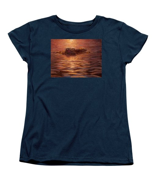 Women's T-Shirt (Standard Cut) featuring the painting Sunset Snuggle - Sea Otters Floating With Kelp At Dusk by Karen Whitworth