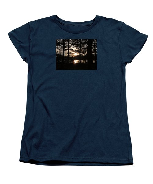 Sunset Through The Pines Women's T-Shirt (Standard Cut) by Teresa Schomig