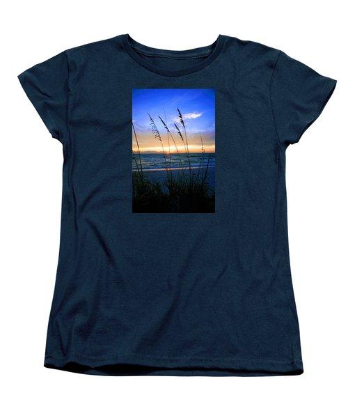 Sunset Thru The Sea Oats At Delnor Wiggins Women's T-Shirt (Standard Cut) by Robb Stan