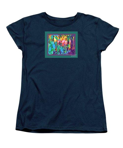 Sunset Thru The Trees Green Border Women's T-Shirt (Standard Cut) by Shirley Moravec