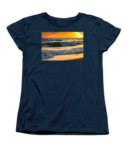 Women's T-Shirt (Standard Cut) featuring the photograph Sunset Waves by Rebecca Hiatt