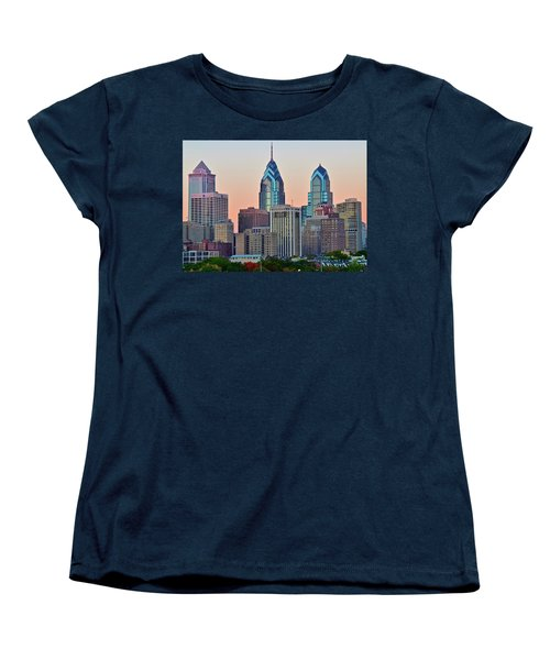 Women's T-Shirt (Standard Cut) featuring the photograph Sunsets Glow In Philly by Frozen in Time Fine Art Photography
