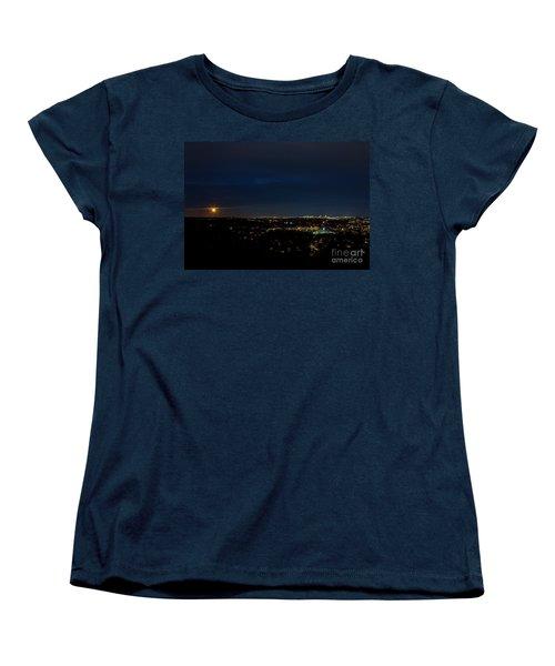 Super Moon 2016 Rises Over Boston Massachusetts Women's T-Shirt (Standard Cut) by Diane Diederich