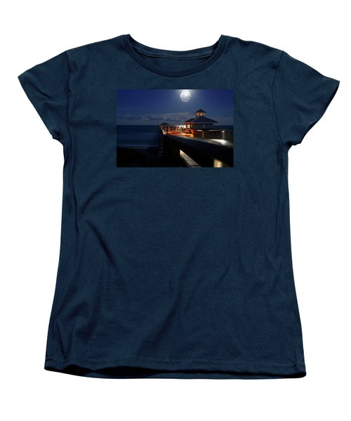 Women's T-Shirt (Standard Cut) featuring the photograph Super Moon At Juno Pier by Laura Fasulo